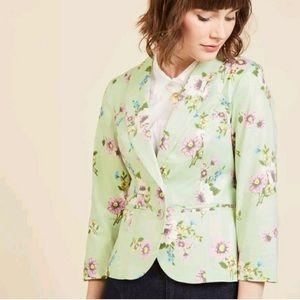 ModCloth mint green floral blazer jacket sz Small